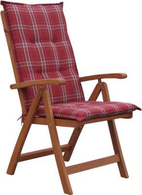 Grasekamp Klappsessel Klappstuhl Sessel Santos mit Kissen Rubinrot | Küche und Esszimmer > Stühle und Hocker > Klappstühle | Grasekamp