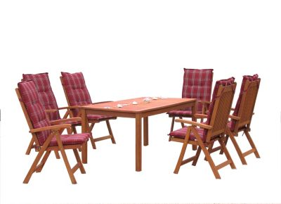 Garten Möbelgruppe Santos 13tlg Rubinrot