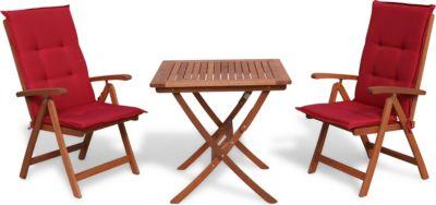 Grasekamp Sitzgarnitur 5tlg mit Tisch 80x80cm Balkonmöbel Gartenmöbel Essgruppe Essgarnitur | Garten > Balkon > Balkon-Sets | Holz | Grasekamp