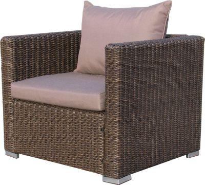 Rattan Lounge Loungesessel Sessel 80cm Sofa Relaxsessel Schlafsessel Pepe Braun