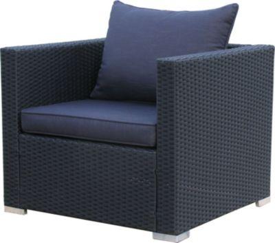 Rattan Lounge Loungesessel 79cm Sessel Sofa Relaxsessel Schlafsessel Pepe Schwarz