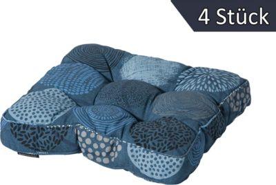 Grasekamp 4 Stück Universell Sitzkissen 47x47cm Bunt Blau