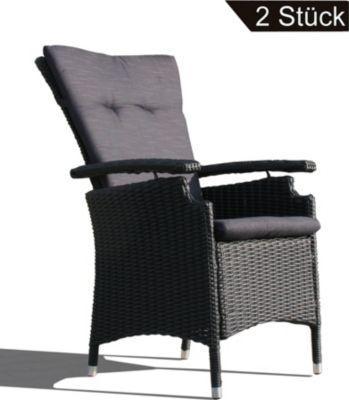 Famous Home 2 Rattan Sessel Relaxsessel Gartenstühle Schwarz