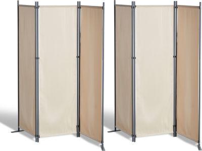 Grasekamp 2 Stück Paravent 3tlg Raumteiler Trennwand Sichtschutz Beige