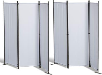 Grasekamp 2 Stück Paravent 3tlg Raumteiler Trennwand Sichtschutz Weiß