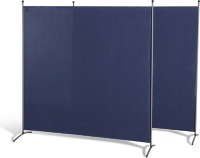 Grasekamp 2 Stück Stellwand 178x178cm Blau Paravent Raumteiler Trennwand Sichtschutz