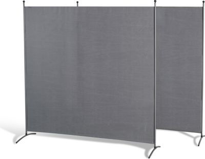 Grasekamp 2 Stück Stellwand 178x178cm Grau Paravent Raumteiler Trennwand Sichtschutz