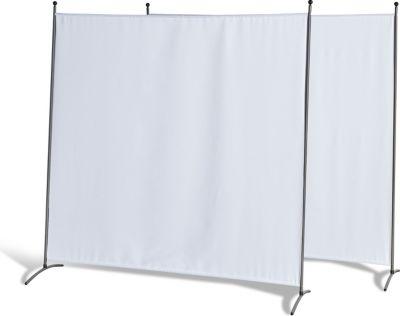 Grasekamp 2 Stück Stellwand 178x178cm Weiß Paravent Raumteiler Trennwand Sichtschutz