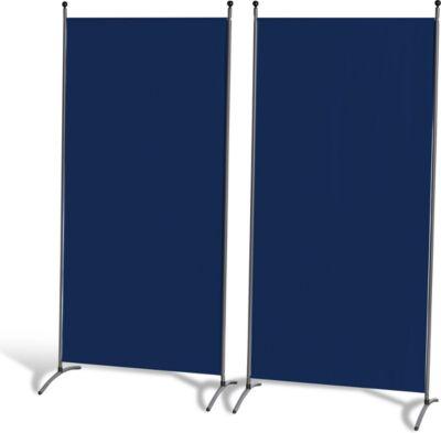 Grasekamp 2 Stück Stellwand 78x178cm Blau Paravent Raumteiler Trennwand Sichtschutz