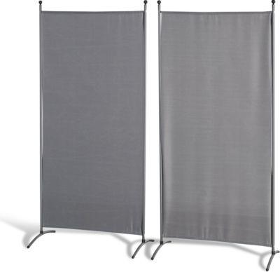 Grasekamp 2 Stück Stellwand 78x178cm Grau Paravent Raumteiler Trennwand Sichtschutz