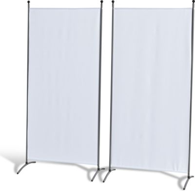Grasekamp 2 Stück Stellwand 78x178cm Weiß Paravent Raumteiler Trennwand Sichtschutz