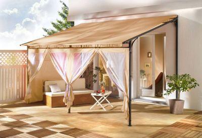 Rollpavillon Terrassendach 3x4m Sand
