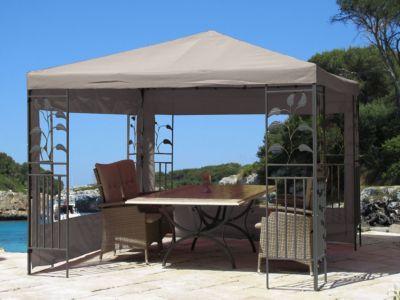 Grasekamp 2 Seitenteile Grau mit PVC Fenster zu Blätter Pavillon 3x4 Meter
