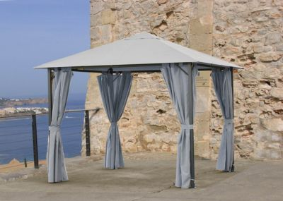 Pavillon Nizza 3x3m Grau mit Seitenwand Set