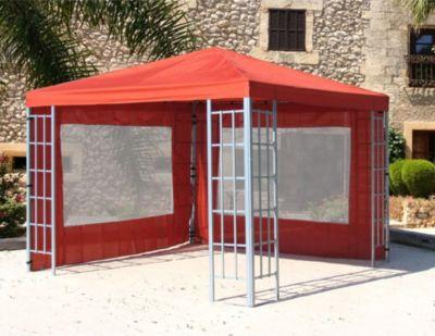 Grasekamp 2 Seitenteile mit PVC Fenster zu Aluoptik Pavillon 3x3m Terrakotta
