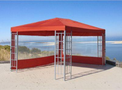 Grasekamp 2 Seitenteile mit PVC Fenster zu Aluoptik Pavillon 3x4m Terrakotta