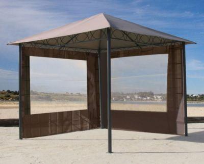 Grasekamp 2 Seitenteile mit Fenster zu Stil Pavillon 3x3m Taupe