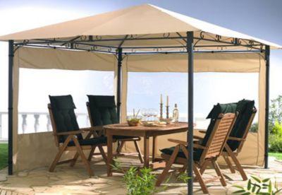 Grasekamp 2 Seitenteile mit Fenster zu Stil Pavillon 3x4m Sand