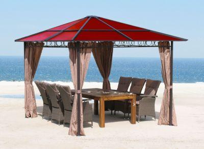 Grasekamp Pavillon 3x3m mit Doppelstegplatten Rubin und Seitenteile Braun Polycarbonat | Garten > Pavillons | Grasekamp