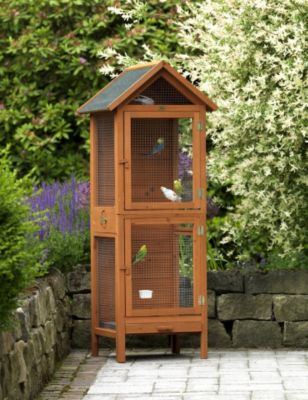 Im PLUS Shop: HABAU Vogelvoliere aus Nadelholz (B/T/H: 62/58/160 cm)