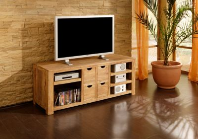 Wolf m bel yoga wohnwand 4 tlg vitrine tv highboard for Kommode yoga shisham