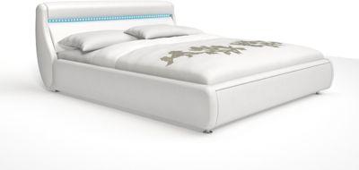Cats Collection Design Polsterbett 180 x 200cm weiß mit LED-Leiste am Kopfteil