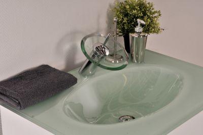 Einhandmischer Bad Armatur Wasserhahn Edelstahl/Glas