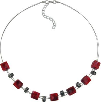 Kette, Würfel rot-schwarz-marmoriert
