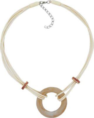 Collier, Ring, barock, beige-marmoriert 48cm