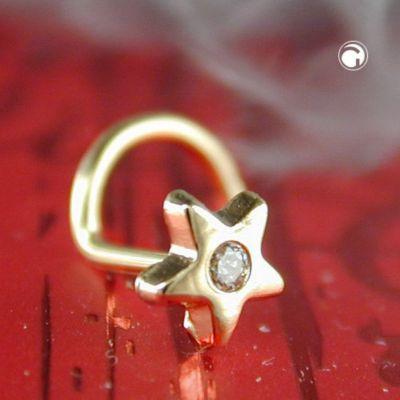 Nasenstecker, Stern Zirkonia, 14Kt GOLD