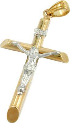 Gallay Anhänger Jesuskreuz bicolor 9Kt Gold 34x17mm groß innen 3x2mm groß