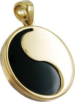 Anhänger Halskettenanhänger Yin-Yang Onyx 9Kt GOLD