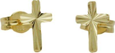 Stecker, Kreuz glänzend, 8Kt GOLD
