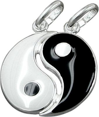 Anhänger Halskettenanhänger Yin-Yang lackiert Silber 925