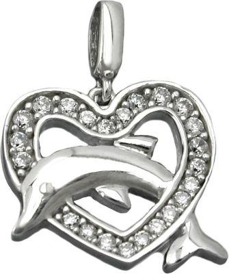 Anhänger Halskettenanhänger Herz mit Delfin Silber 925