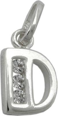Anhänger Halskettenanhänger Buchstabe D mit Zirkonia Silber 925