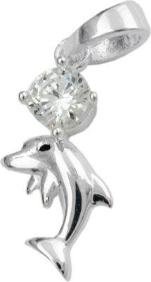 Anhänger Halskettenanhänger Delfin mit Zirkonia Silber 925