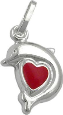 Anhänger Halskettenanhänger Delfin Herz rot Silber 925