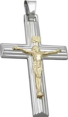Anhänger Halskettenanhänger Kreuz Jesus bicolor Silber 925