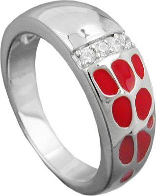Ring, rot, mit Zirkonias, Silber 925