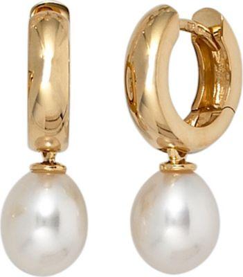 Creolen 585 Gold Gelbgold 2 Süßwasser Perlen Ohrringe
