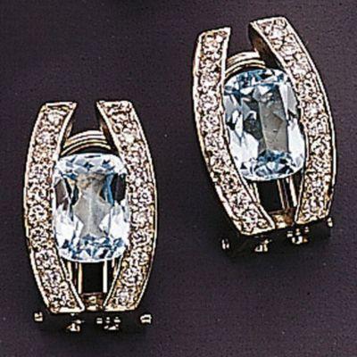 Jobo Ohrstecker 585 Gold Weißgold 40 Diamanten Brillanten 2 Blautopase blau Ohrringe