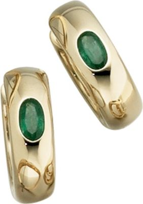 Creolen rund 585 Gold Gelbgold 2 Smaragde grün Ohrringe Goldohrringe Goldcreolen
