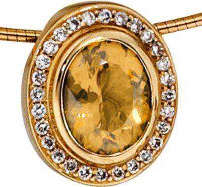 Jobo Anhänger Halskettenanhänger Brillanten Citrin 14Kt GOLD