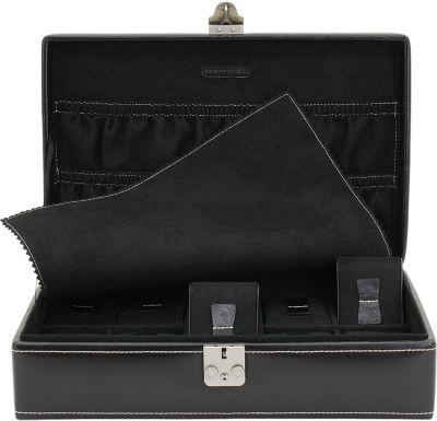 FRIEDRICH_L Friedrich Lederwaren Uhrenkoffer Uhrenkasten Uhrenbox Leder schwarz für 10 Uhren