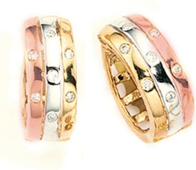 Jobo Creolen 333 Gold Gelbgold tricolor dreifarbig 14 Diamanten Brillanten Ohrringe