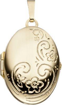 Jobo Medaillon oval für 2 Fotos 333 Gold Gelbgo...