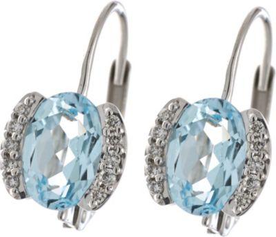 Jobo Boutons 585 Gold Weißgold 20 Diamanten 2 Blautopase blau Ohrringe Ohrhänger