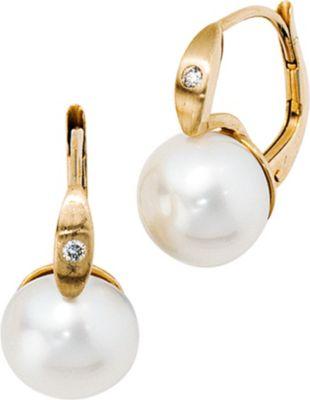 Jobo Boutons 585 Gold Gelbgold 2 Diamanten 2 Süßwasser Perlen Ohrringe Ohrhänger