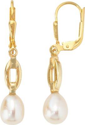 Jobo Boutons 333 Gold Gelbgold mattiert 2 Süßwasser Perlen Ohrringe Ohrhänger